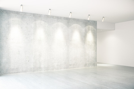 Concrete interior with illuminated empty wall. Mock up, Side view, 3D Rendering Stock Photo