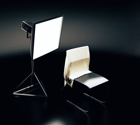 professional lighting: Professional lighting equipment and chair with cloth in dark room. Photo studio concept. 3D Rendering Stock Photo
