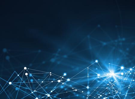 밝은 파란색 배경에 추상 연결 된 점. 기술 개념 스톡 콘텐츠
