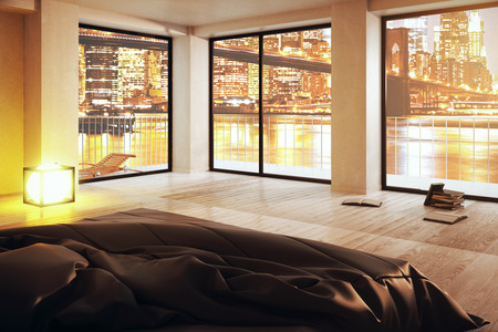 Creative luxurious bedroom with panoramic city view. 3D Rendering
