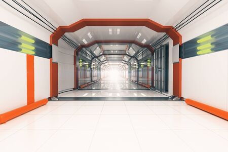 corridor: Abstract light futuristic corridor interior. 3D Rendering
