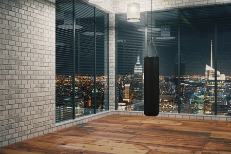 Black Punching bag for boxing sport in the gym, 3D Rendering