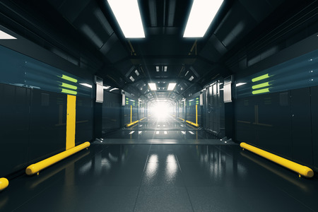 corridor: Abstract dark futuristic corridor interior. 3D Rendering Stock Photo