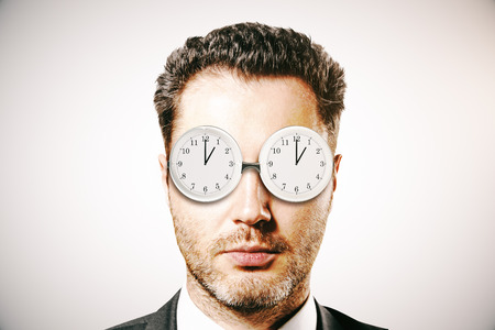 businessman with abstract glasses clock. deadline concept. 3D Rendering