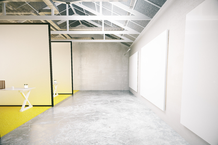 hall monitors: Modern workplace interior with blank whiteboard. 3D Rendering