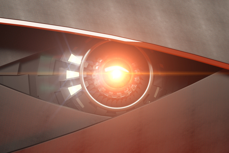 Bright hazel robotic eye with abstract light. Futuristic technologies concept. 3D Rendering