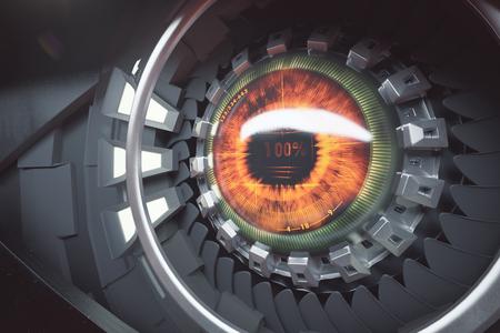 개암 사이버 안개. 미래 기술 개념입니다. 닫기, 3D 렌더링