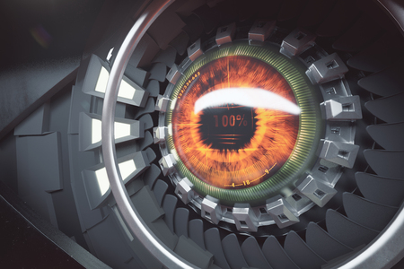 eye 3d: Hazel cyber eye. Future technologies concept. Close up, 3D Rendering Stock Photo