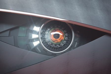 eye 3d: Futuristic hazel eye. Future technologies concept. 3D Rendering