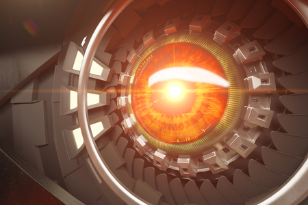 eye 3d: Hazel robotic eye with abstract light. Futuristic technologies concept. Close up, 3D Rendering Stock Photo