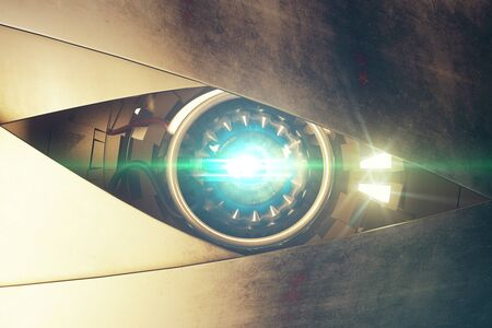 eye 3d: Metallic blue robotic eye with abstrat bright light. Cyber technology concept. 3D Rendering
