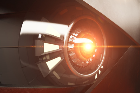 Hazel robotic eye with abstract light. Futuristic technologies concept. Side view, 3D Rendering