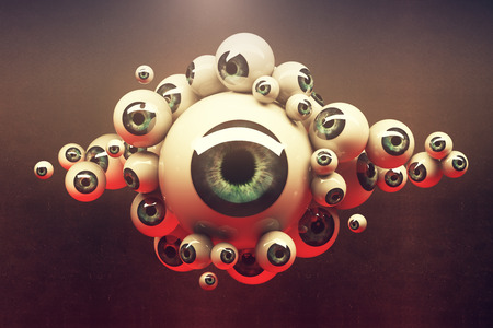 Abstract collection of different sized green eyeballs on dark background. 3D Rendering
