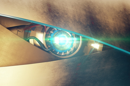 eye 3d: Metallic blue robotic eye with abstrat bright light and mean look. Cyber technology concept. 3D Rendering