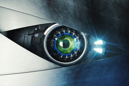 eye 3d: Green cyber eye. Technology and electronics concept. 3D Rendering