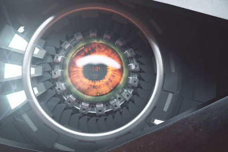 eye 3d: Hazel cyber eye with reflections. Future technologies concept. 3D Rendering