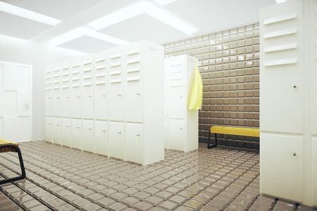 changing room: White gym changing room interior. 3D Rendering