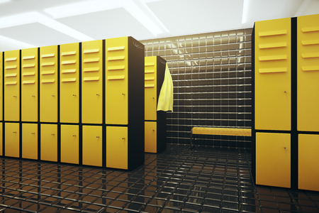 changing room: Bright gym changing room interior. 3D Rendering Stock Photo