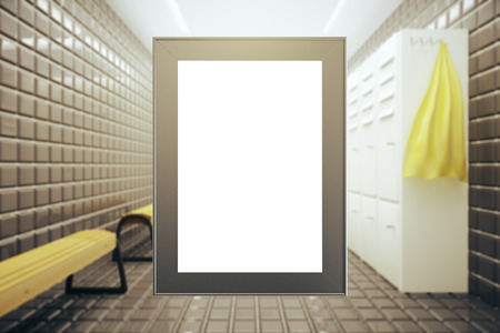changing room: Front view of empty picture frame on modern changing room background. Mock up, 3D Rendering