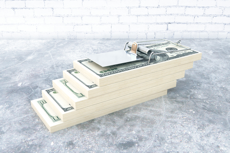 Abstract dollar bill trap in room with concrete floor. Risk concept. 3D Rendering