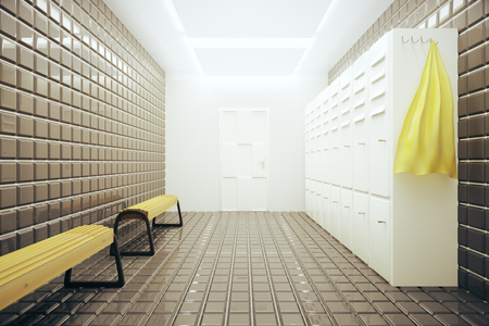 changing room: Light gym changing room interior. 3D Rendering