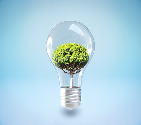 Absract lamp with tree inside on blue background. 3D Rendering. Growth and idea concept Stock Photo