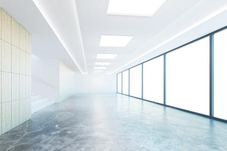 Interior vacío pasillo de hormigón con la luz del día y sin vistas. Representación 3D