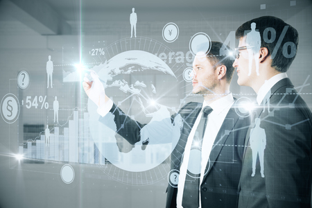 financial concept: Caucasian businesspeople drawing abstract digital interface with business charts and HR icons. Technology concept