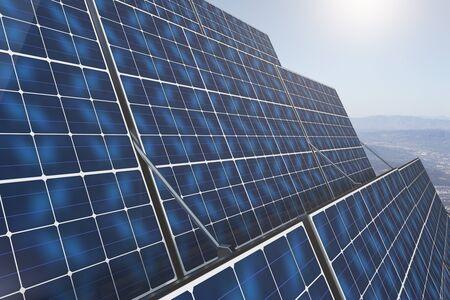 sunny side up: Close up of blue solar panels on landscape background. Renewable energy concept. 3D Rendering