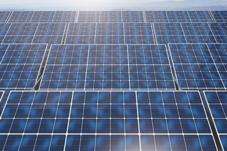 collectors: Close up of blue solar panels on sky background. Environment concept. 3D Rendering Stock Photo