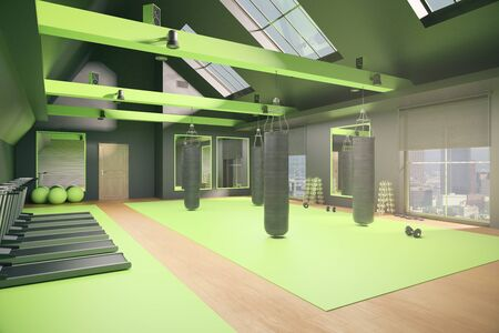 recreation rooms: New green gym interior with equipment and city view. 3D Rendering Stock Photo