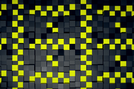 voluminous: Abstract yellow and black cubes backdrop. 3D Rendering