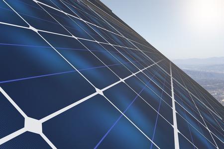 Side view of blue solar panels on landscape background. Renewable energy concept. 3D Rendering Stock Photo