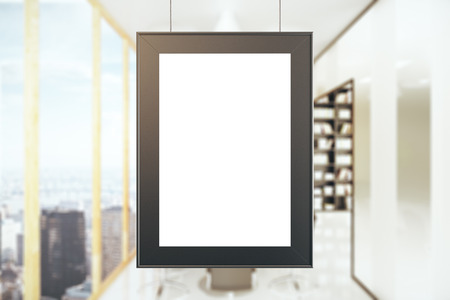 Empty picture frame in modern office interior with city view. Mock up, 3D Rendering Stock Photo