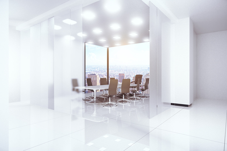 city view: Modern bright boardroom with panoramic city view. 3D Rendering Stock Photo