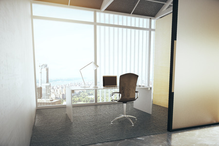 city view: Contemporary office interior with city view. 3D Rendering