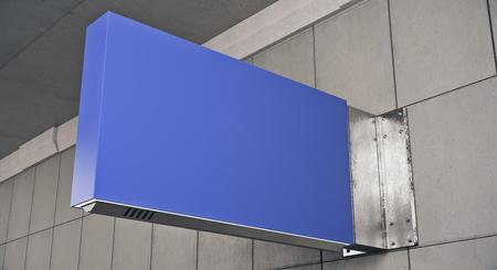 Horizontal blue stopper on tile background. Advertisement concept. Mock up, 3D Rendering