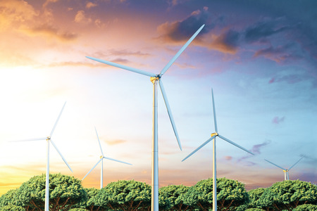 windfarm: Front view of windmills on beautiful landscape background. Electric power production concept, 3D Rendering