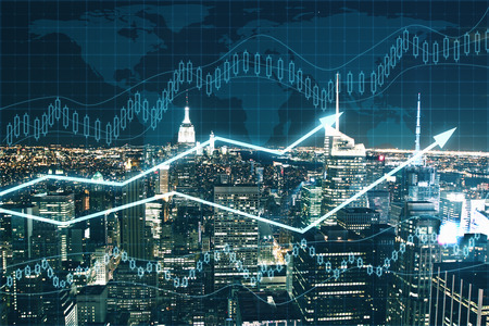 Forex chart on night city background. Financial growth concept