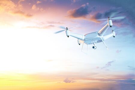 phantom: Hovering drone with camera in clear sky. Surveillance concept. 3D Rendering