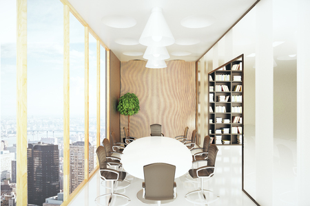 city view: Modern conference room with equioment and city view. 3D Rendering