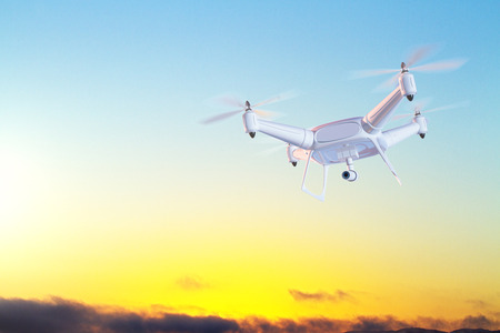 Hovering drone with camera at sunset.Monitoring concept. 3D Rendering