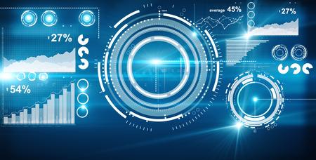抽象的なデジタル パターンとチャート。青色の背景色。オンライン ビジネス コンセプト
