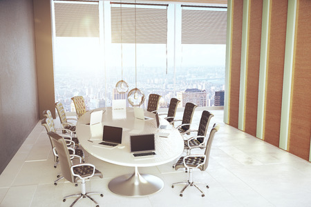 city view: Modern meeting room with equioment and city view. 3D Rendering Stock Photo