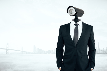 CCTV headed man on city background. Supervision concept