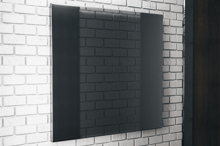 Side view of square black glass plate on brick wall background. Ad concept. Mock up, 3D Rendering Stock Photo