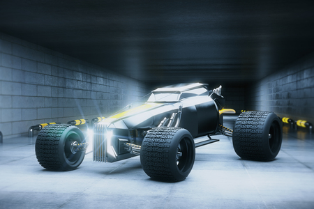 Silver sports car in concrete tunnel. Race concept. 3D Rendering