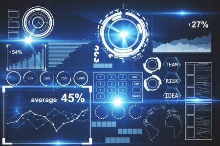 Vorderansicht der hellen digitalen Business-Panel. Finanzkonzept. 3D-Rendering