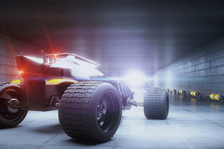 Back view of sports car with red lights in concrete tunnel. 3D Rendering