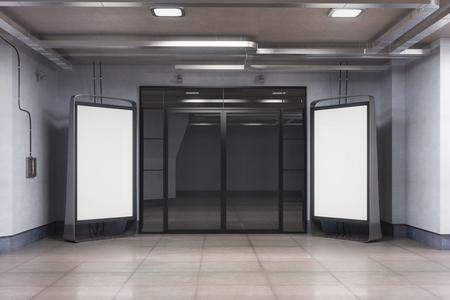 광고에 적합 한 두 개의 빈 광고 판과 인테리어의 전면 뷰. 모의 3D 렌더링